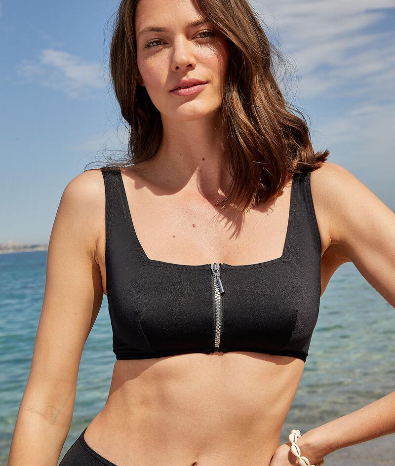 Square-neck surf bra with zip closure;${refinementColor}