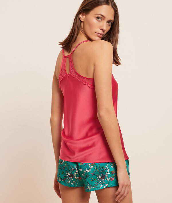 Low-cut camisole with lace back;${refinementColor}