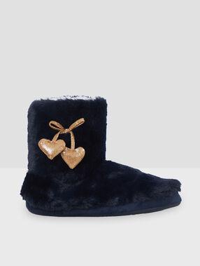 Chaussons bottines étoiles bleu.