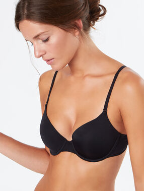 Micro padded demi-cup black.