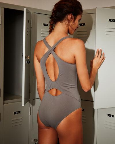 Crossed back swimsuit khaki.