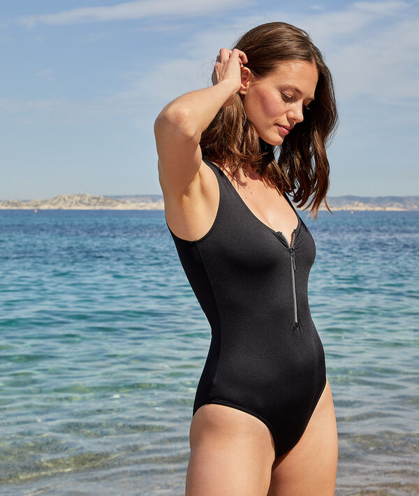 One-piece surf swimsuit with zip closure;${refinementColor}