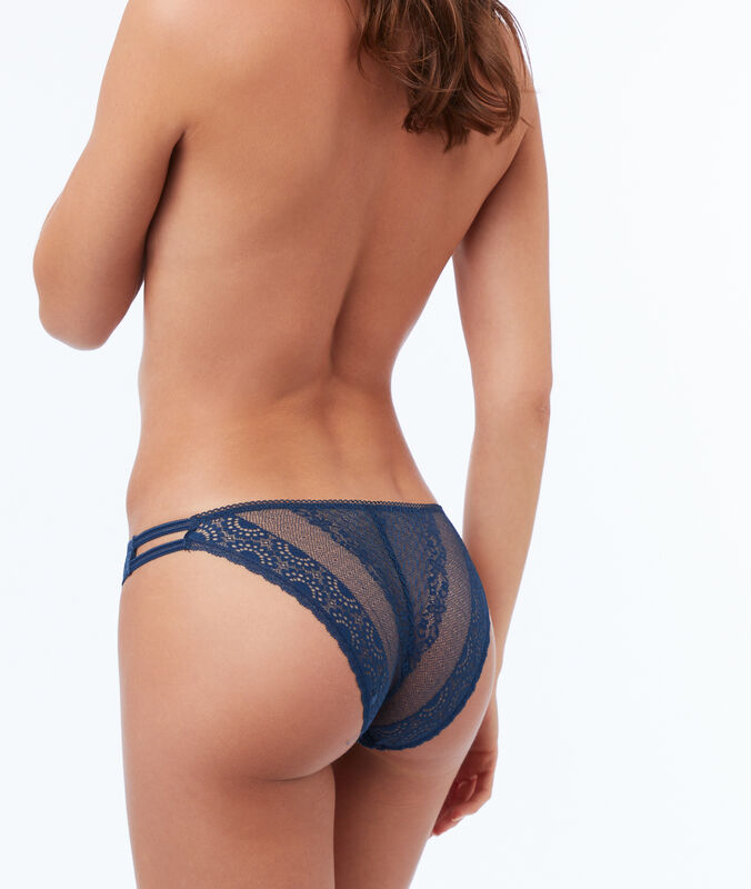 Lace briefs with elasticated bands blue.