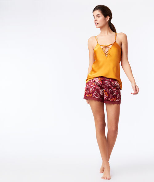 Satin shorts with lace trim