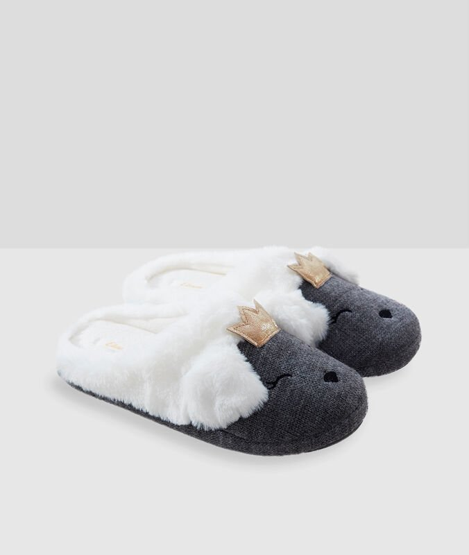 Chaussons animaux gris.