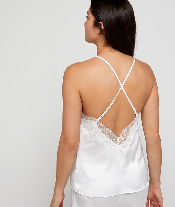 Satin top, lace neckline