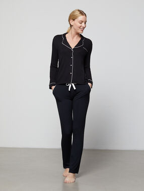 Loose two-tone pants black.