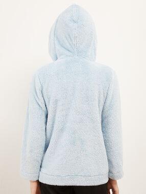 Faux fur hood jacket blue.