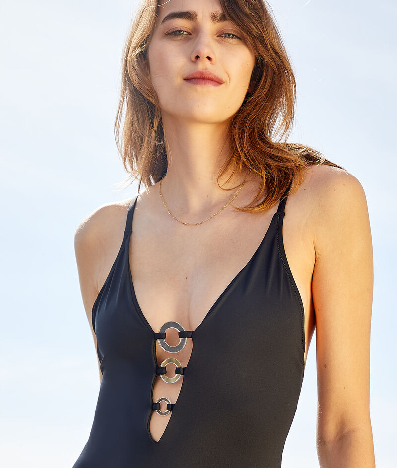 Non-wired one-piece swimsuit with buckle neckline;${refinementColor}