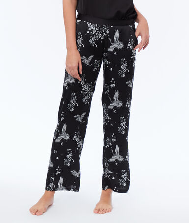 Satin trousers black.