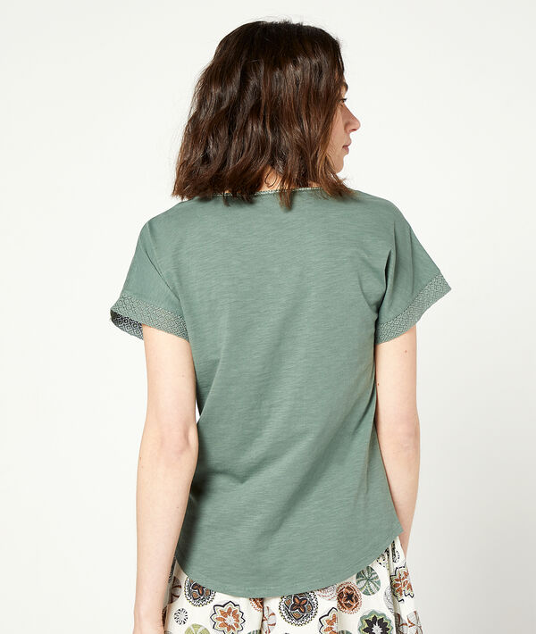 T-shirt with lace up collar;${refinementColor}