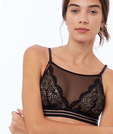 Lace and tulle bralette black.