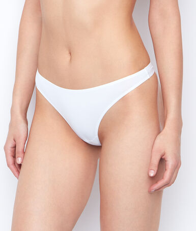 Micro thong, thermal bound trim white.
