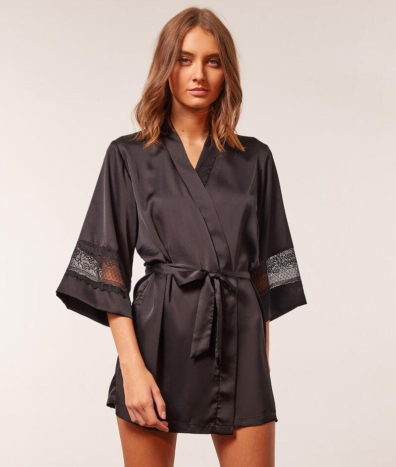 Satin kimono robe with lace detail ;${refinementColor}