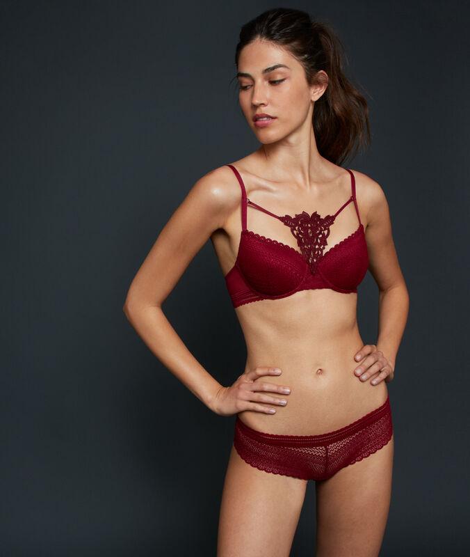Bra no. 4 - lace classic padded bra garnet burgundy.