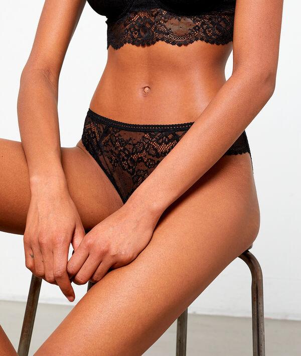 Lace spot bikini knickers;${refinementColor}