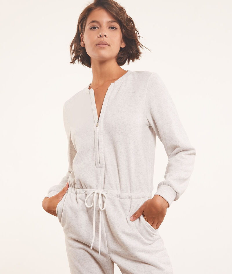 Zipped jumpsuit with tie at waist ;${refinementColor}