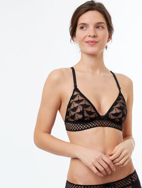 Lace triangle bra with embroideries and open-work basque black.
