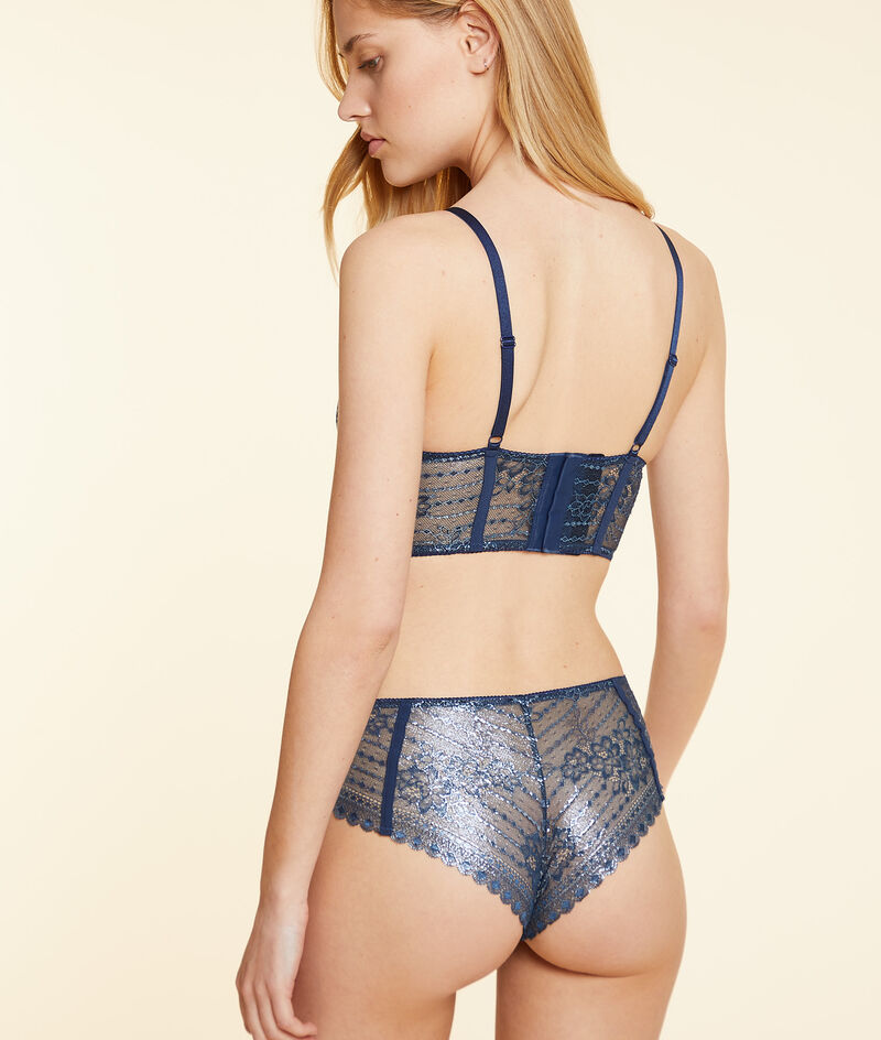 Lace hipster briefs with removable suspenders;${refinementColor}