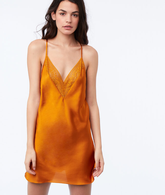 Racer back satin nightie ocre.