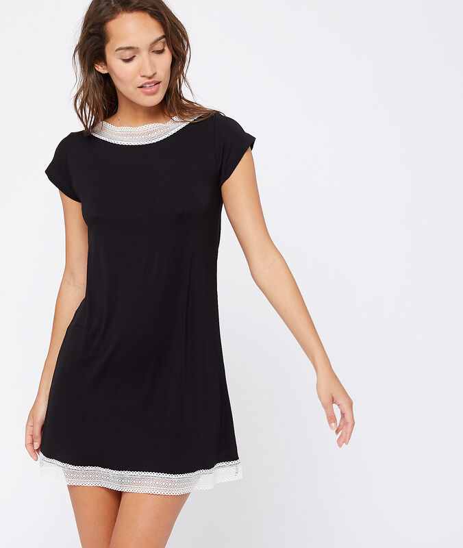 Lace edged nightshirt black.