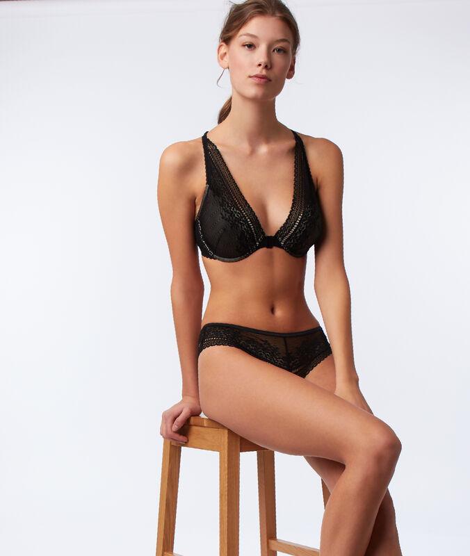 Bra no. 6 - lace padded triangle bra, racer back black.
