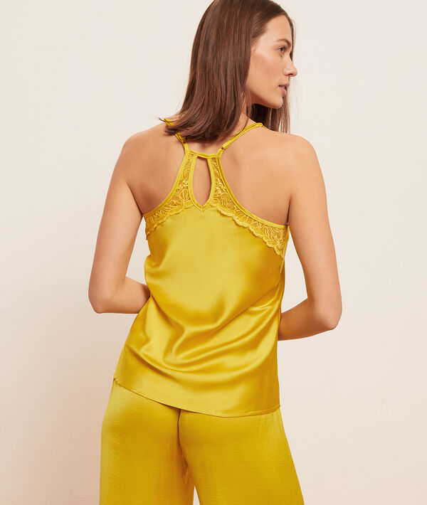 Low cut camisole with lace back;${refinementColor}