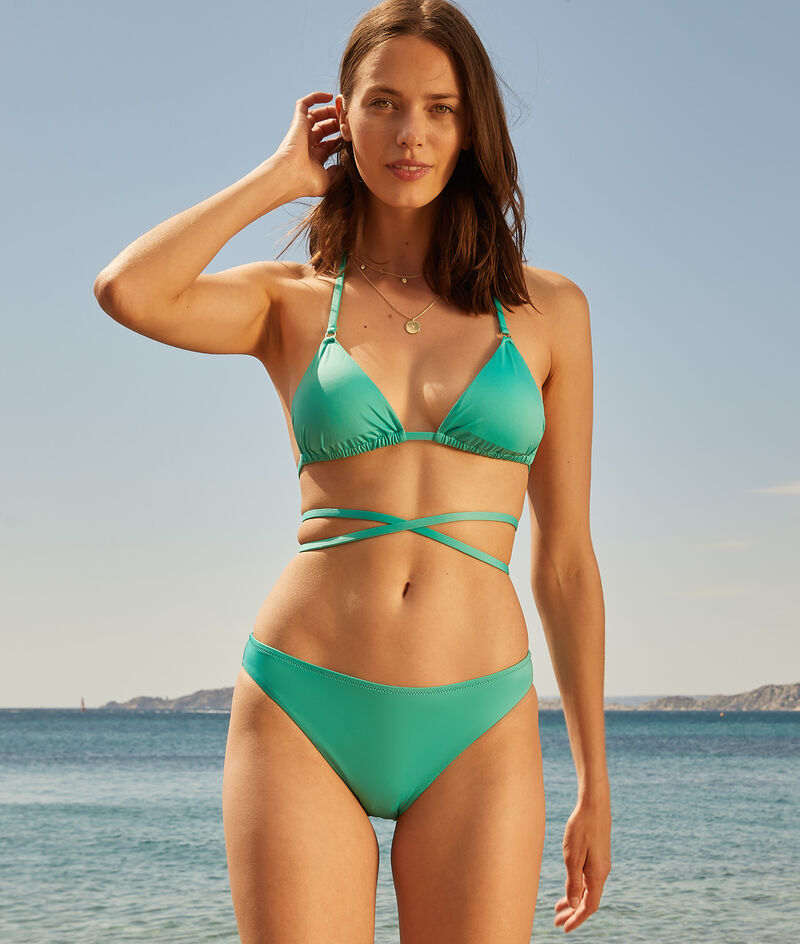 Strappy triangle without underwire swimsuit;${refinementColor}