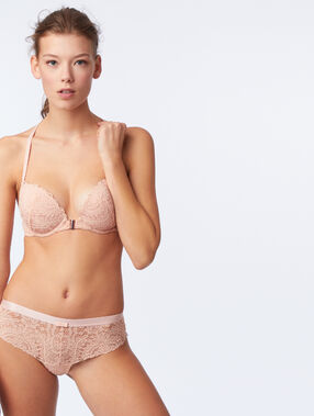 Bra no. 5 - classic padded lace bra with racer back natural.
