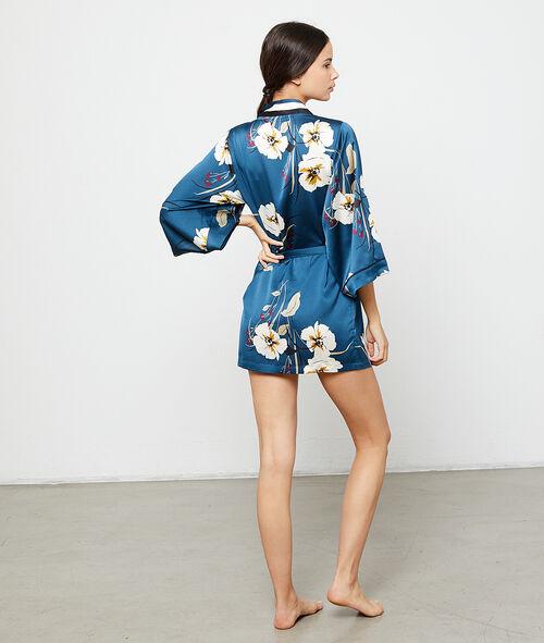 Floral satin kimono dressing gown