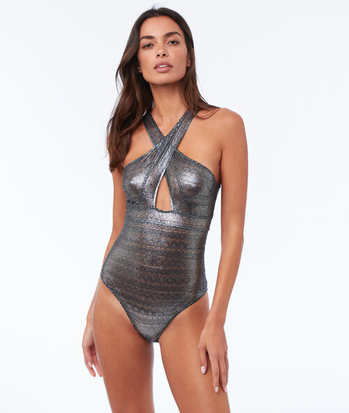 Silvery bodysuit with guipures