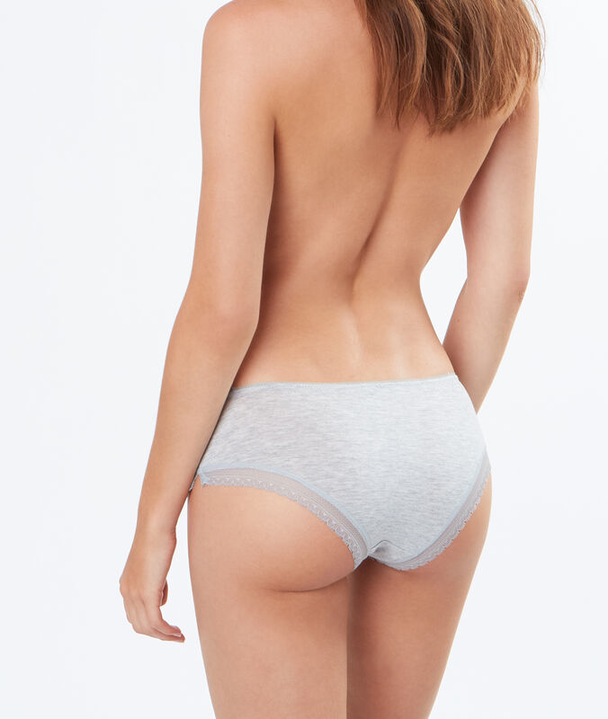 Delicate, lace-edged, modal shorts gray.