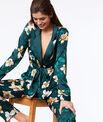 Chemise de pyjama satinée imprimé floral