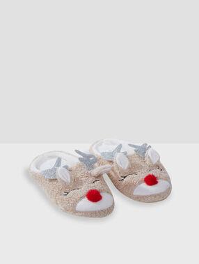 Reindeer mule slippers beige.