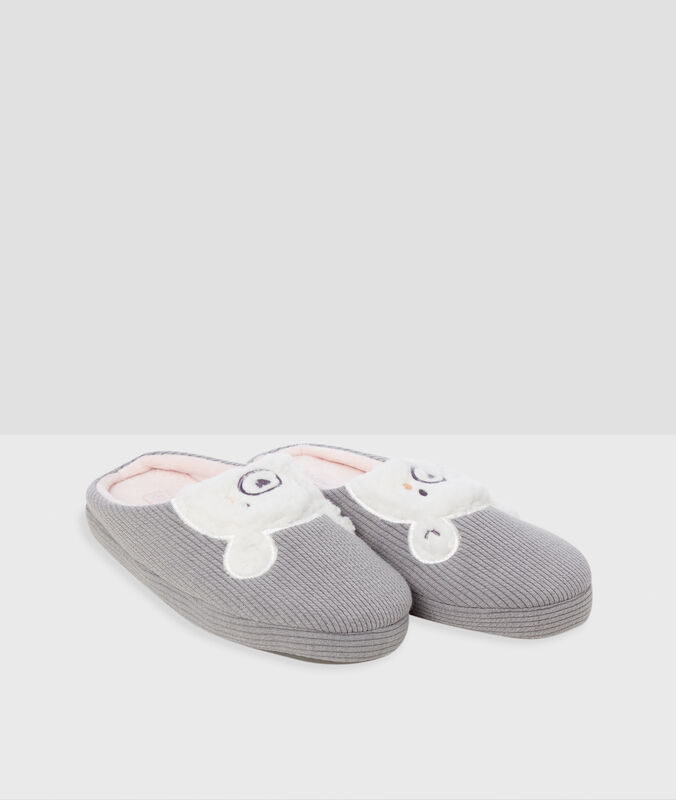 Bear slippers gray.