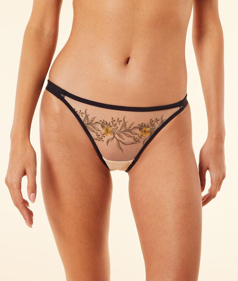 Embroidered tulle bikini panties ;${refinementColor}