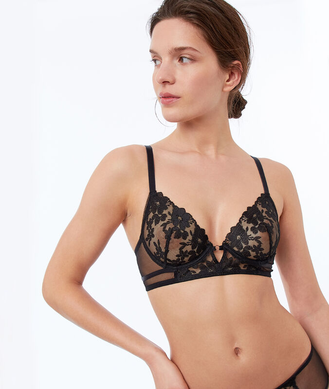 Non-padded bra, embroidery and tulle black.
