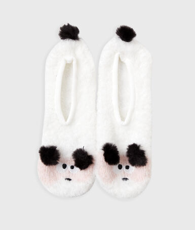 Animal slippers with tassels ecru.