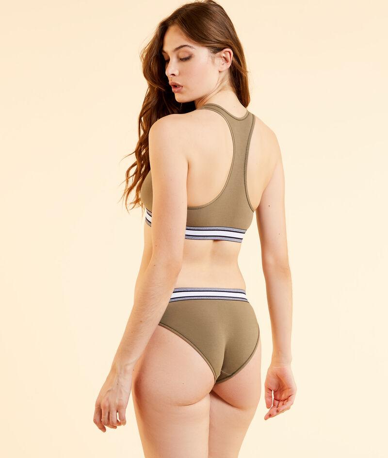Racer-back stretchy organic cotton bra;${refinementColor}
