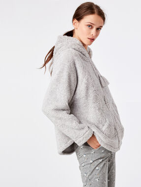Faux fur hooded poncho  grey.
