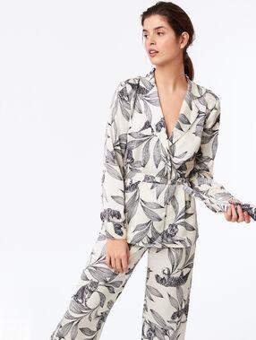 Chemise de pyjama nouée à imprimé floral ecru.