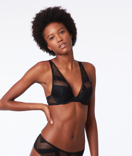 Bra n°3 - Lace and mesh triangle push-up bra