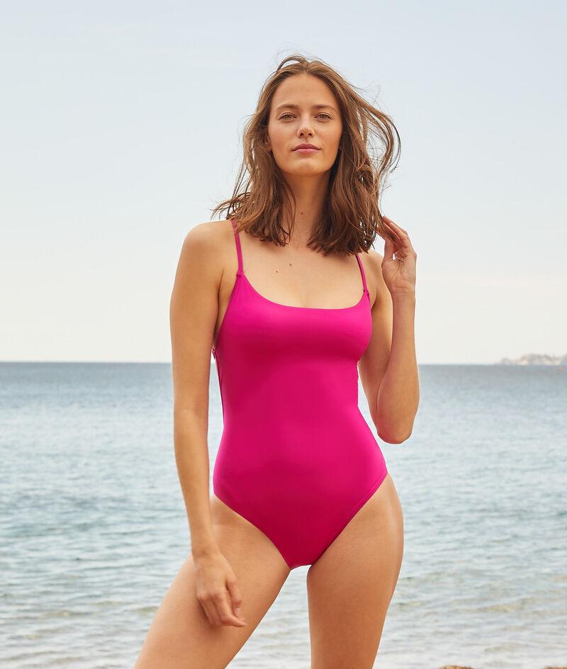 Cross-back one-piece swimsuit;${refinementColor}