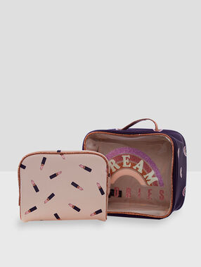 Cat wash bag purple.