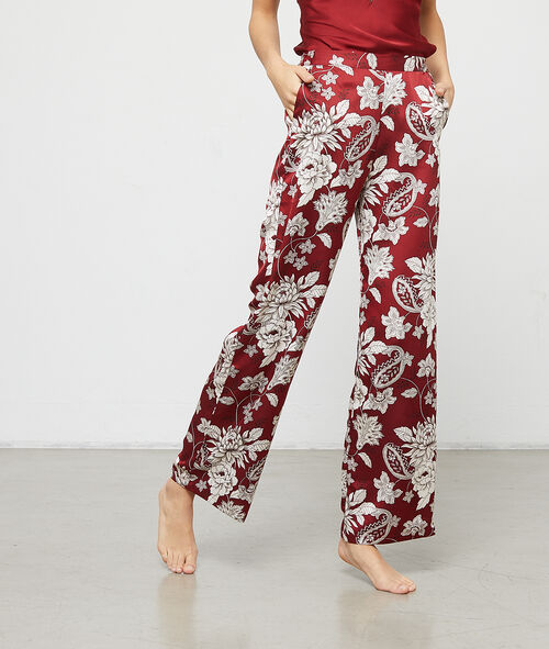 Floral print satin trousers