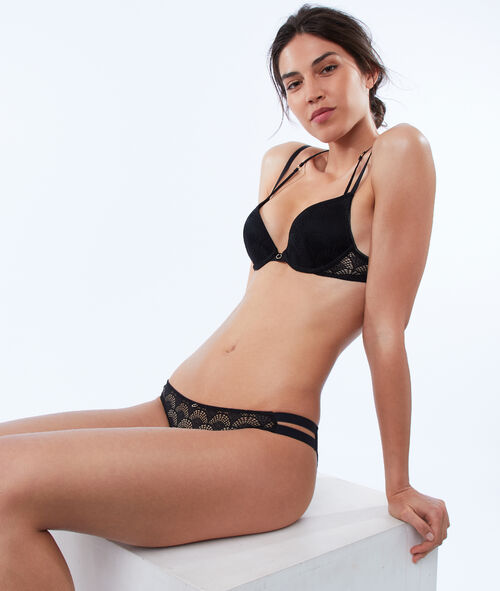 Bra No. 2 - Lace plunging push-up bra with ties, structured back