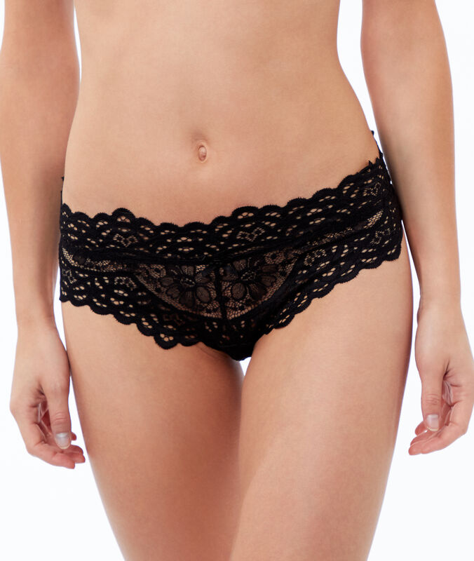 Floral lace briefs black.