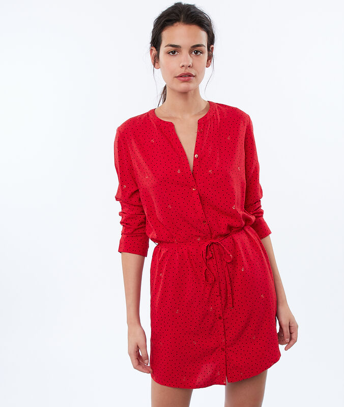 Belted nightgown red.