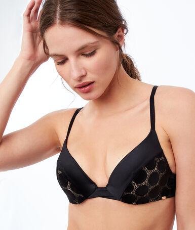 Bra no. 2 - microfiber plunging push-up bra black.