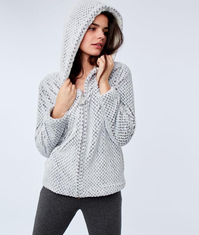 Faux fur hooded jacket gray.